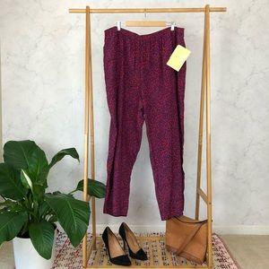 Bob Mackie Red Print Silk Wide Leg Pants NWT